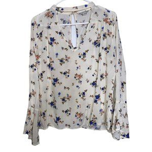 American Eagle Outtfitters AEO Ivory Blue Floral Medium Keyhole Neck Bell Sleeve